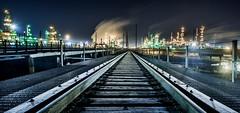 COMMERCE CITY BLUE (wilsonaxpe) Tags: denver colorado commercecity industry refinery rail railtrack lowwideangle blue urbanlandscape industriallandscape nightphotography nocturnal longexposure