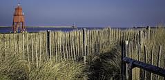 Three Lighthouses (MMiPhoto) Tags: southshields pier coast beach sand red eye fuji xt1 xf35