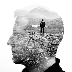 Far away thoughts (Steffen Walther) Tags: steffenwalther portrait monochrome bw doubleexposure travel highlands beinneighe scotland thoughts uk britain head canon5dmarkiii fineart photoshop reisefotolust compositing blackandwhite westernross landscape canon3514l canon 35mm