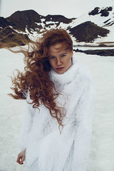 ICELAND (ryanbaterstudio) Tags: fashion fashioneditorial portrait outdoorsportrait iceland beauty ginger redhair model dynamic portraiturephotography naturallighting nature movement engaging snow white mountains people woman girl freckles adventure
