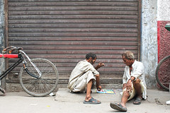 Roadside break (Inspired by MAS) Tags: two men playing game rickshaw drivers pullers