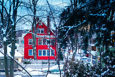 Red House and Snow (Eric Swardstrom) Tags: redhouse boston street snow