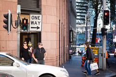One Way, That Way (Vincent Albanese) Tags: road street winter people woman plants sun man colour tree eye window glass bike fuji shadows emotion humanity sydney hipster inspired streetphotography australia explore fujifilm colourful moment discover decisive atelier xt1 xf35mm