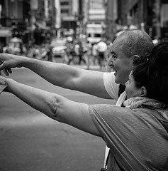 Look, Over there. (Big Man, little cam) Tags: newyorkcity blackandwhite bw monochrome manhattan timessquare newyorknewyork nycstreetphotography bwstreetphotography sonya6000 e60mm28dnart