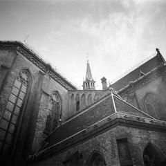 Church of St. Ludmila (Sarka Sevcikova) Tags: blackandwhite bw church monochrome architecture lomography prague praha lookingup lookup ilford kostel architektura dianamini