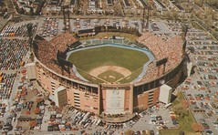 Memorial Stadium - Baltimore, Maryland (The Cardboard America Archives) Tags: vintage stadium postcard maryland aerialview baltimore colts orioles