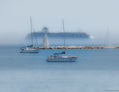 Ghost ship (jacobsfrank) Tags: cruise blue sea sun beach portugal water strand boot coast boat nikon flickr blauw zee zon cascais kust schip cruiseschip nikon105mm frankjacobs d7200 jacobsfrank