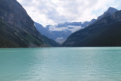 Lake Louise, Banff NP, Alberta, Canada (MJR96) Tags: park trees summer cloud sun mountain lake snow canada mountains green nature water forest rockies rocky ab august canadian louise national alberta banff np wilderness emerald