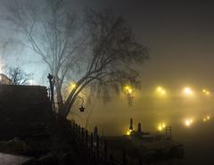 A Study in Kelvin (• estatik •) Tags: 12716 december 7 2016 new hope pa pennsylvania delaware river bridge lights dark fog long exposure panorama lambertville nj jersey bucks county hunterdon