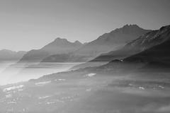 "Haze at Sunset (Svend RS) Tags: blackandwhite monochrome noiretblanc ""artinbw"" biancoenero blancoynegro haze sunset sonyilce7m2 sonya7 alpha a7m2 90mm sel90m28g shorttelephotolens telephoto telephotolens alps switzerland valais"