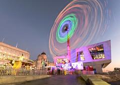 Spinning light (paul hitchmough photography) Tags: fairground fairgroundride nikond800 liverpool colours sunset pierhead paulhitchmoughphotography spinninglight lightspinning