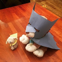 Emmett wanted Scarf Puppy and Floppy to be Batman and Robin. Daddy + Construction Paper + Scissors = This.