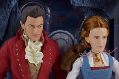 Film Collection Belle and Gaston Doll Set - Live Action Beauty and the Beast - Disney Store Purchase - Deboxing - On Backing - Portrait Front View (drj1828) Tags: us disneystore beautyandthebeast liveactionfilm 2017 belle gaston disneyfilmcollection 12inch posable dollset blue peasant dress deboxing