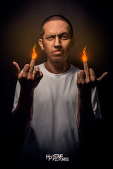 My Middle-fingers (Jaso.ON) Tags: middlefinger fire mueca camisetablanca
