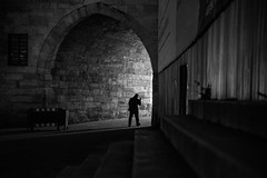 Alone at night / the source of the light (Özgür Gürgey) Tags: 2017 24120mm bw d750 darkcity nikon yenicamii architecture evening lines lowlight silhouette stairs istanbul