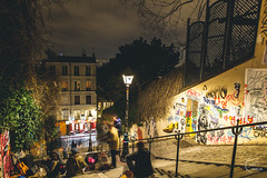 Montmartre and its stairs (Julien CHARLES photography) Tags: 75018 chezmarie europe france hdr montmartre paris escalier escaliers floorlamp graffiti lamp lampadaire longexposure night nuit poselongue stair stairs steps streetart