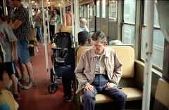 Wicker (dtanist) Tags: new york city nyc newyorkcity newyork film beach brooklyn analog train subway bay centennial brighton sitting kodak seat rangefinder olympus celebration nostalgia sp mta 100 wicker 35 zuiko bmt padded ektar sheepshead gzuiko 35sp 42mm