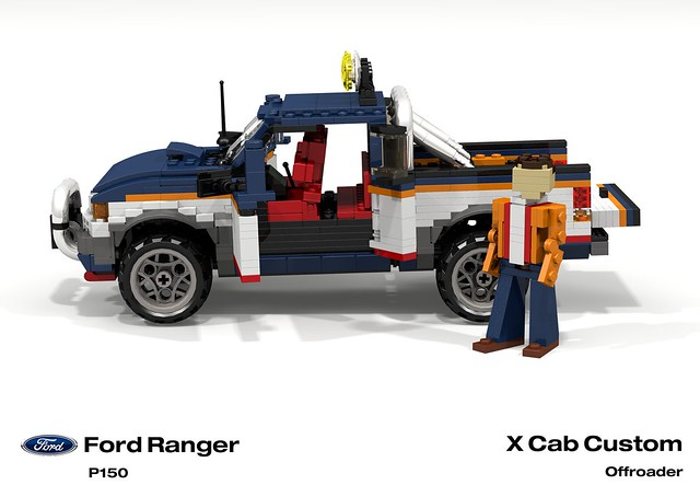 auto usa ford car america truck team model ranger lego stuck offroad render 1996 4wd utility pickup ute custom challenge 92 1990s 90s cad lugnuts v6 povray moc ldd p150 miniland lego911 stuckinthe90s