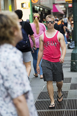 094A6981 v2 (Wheels Down) Tags: nyc cute feet arms legs candid streetphotography handsome blond flipflops tanktop shorts hottie shoulders singlet tamron70300mm