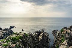 Tjimb Sandan & Byobu Rocks (fushoku) Tags: 1200 160mm apsc alpha6000 blue cloud epz1650mmf3556oss emount fukui iso100 japan light mirrorless mountain nature outdoor overcast plant rocks sakai sea sky sony summer sun tjimb water f95