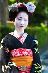 I ran into an actual geisha in the Gion district of Kyoto and she was nice enough to let me take her picture! (kleindru) Tags: travel portrait woman girl beautiful beauty japan asian japanese nikon asia feminine traditional makeup geisha gion tradition nikkor dx nikondx femininebeauty d7100 nikond7100