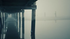 Under the Bridge... (Decaycat) Tags: decaycat fog pier bleak water denmark reflections reflextion vanishingpoint