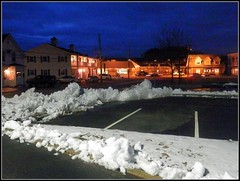 Partial Snow In The Parking Lot At Night  - Winter Photo Taken by STEVEN CHATEAUNEUF On January 19, 2017 - Fill Light Was Added by Using Picasa 3 Editing - Graduted Tint & Sharpness Were Added On January 21, 2017 (snc145) Tags: winter seasons night nighttime evening buildings architecture trees cars parkinglot chelmsford massachusetts usa photo filllight picasa3editing blue gold white gray january192017 stevenchateauneuf texture vividstriking autofocus