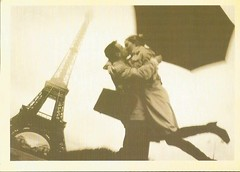 Vintage Reprint 06 (Lillie's Postcards (thehexwitch)) Tags: offers postcard vintage reprints old faded couple paris eiffel tower umbrella love