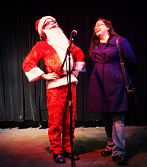Santa and Kelley sing Jingle Bells at DL Minneapolis