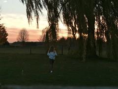 windy (emilyborhi) Tags: me self portrait wind windy backyard outdoors landscape nature tree willow woman walking