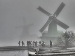 Cliché Alarm (m_artijn) Tags: windmill mill zaanse schans zaandam nl mist cliché dutch canal river grey
