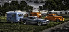 Bolers Blue & Orange (Steve Walser) Tags: trailer traveltrailer boler fiberglasstrailer mustang camping rv summer