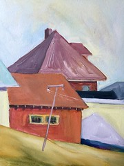 Roof Lines and Clothes Lines (Handwork Naturals) Tags: catskill newyork laundry painting villageofcatskill plain simple color neighborhood clothesline winter roof hudsonvalley edenscovillehart