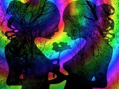 TWO LOVERS (hlh 1960) Tags: farben love heart flower silhouette woman two impressionen art rainbow äste winter trees nice dreams hair face lovely stille stillnes treue träume colour colourful januar 2017