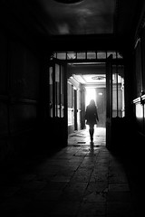 (cherco) Tags: woman mujer alone lonely solitario solitary misterio mistery blackandwhite blancoynegro girl floor suelo city ciudad gate puerta composition composicion canon chica backlighting contraluz light silhouette shadow silueta sombra street exit