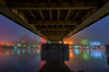 The Underbelly Of Pittsburgh Part III (Brad Truxell) Tags: exposureblending pittsburgh city fog bridge robertoclementebridge architecture lights glow river alleghenyriver sigma1020mm nikond7000
