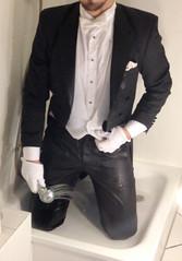 white-tie-shower-1_10300241306_o (shinydressshoes) Tags: tails tailcoat tuxedo suit muddy gunge wet shiny shoes shinyshoes leather patent dressshoes groom wedding whitetie frack formal shower lackschuhe lackschuh