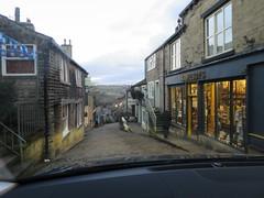 Driving down Main Street (waldopepper) Tags: haworth mainstreet