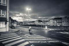 Alone (Gilderic Photography) Tags: liege belgium belgique belgie street morning matin bicycle velo girl speed lonely lamp panasonic lumix lx100 gilderic
