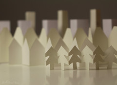 City of Peace & New Beginning [In Explore 17/1/17] (Belle Pans Maze) Tags: macromondays justwhitepaper mm macro white paper garland buildings houses trees city canoneos700d canon craft art