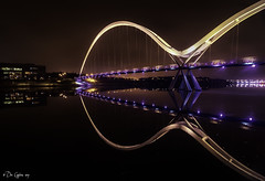 Colours and Curves. (Dave Cappleman - inspired by your work!) Tags: infinitybridge stocktonontees tees bridge infinity reflections colours lights night