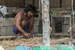 Working (neco.w) Tags: man work cut philippines working hard knife bamboo hut cutting blade machete