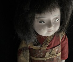 SCRAGGLY_gofun ichimatsu (Fuji Toy?)_1929 (leaf whispers) Tags: old light portrait japan blackbackground vintage toy japanese bigeyes doll artist fuji box witch antique traditional ghost goth bisque retro kawaii horror kimono artdoll cry maker hina ghostly olddoll chiaroscuro blackhair porcelain obon papiermache obsolete papermache bighead scarydoll ancienne blackeyes poupee ningyo vintagetoy madeinjapan antiquetoy humanhair creepydoll ichimatsu vintagedoll fondnoir japanesedoll gothdoll haunteddoll spiritdoll weirddoll soundbox freakydoll witchdoll realhair originaldoll whitedoll horrordoll possesseddoll sinisterdoll gofun crazydoll ghostdoll darkdoll artisticdoll uniquedoll decayedbeauty gofundoll crybox paperwrappedtorso squeekerbox