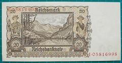 1939-REICHSBANKNOTE-ZWANZIG-REICHSMARK-REVERSE-I05816998-124-D5 (noteworthycollectibles) Tags: germany paper deutschland mark silk imperial currency banknote notgeld seiden pfennig hyperinflation badische reichsbank emergencymoney darlehnskasse