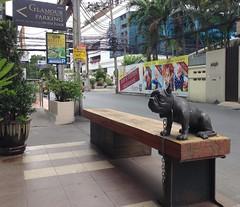 Little Beast - Thong Lo Bangkok (jcbkk1956) Tags: street dog signs statue bronze bar bench thailand restaurant bangkok seat figure devil beast chained thonglo littlebeast iphone5 viagginelmondo