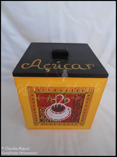 "Caixa para cápsulas Delta Q e caixa para pacotes de açúcar ""Yellow&Dark"""