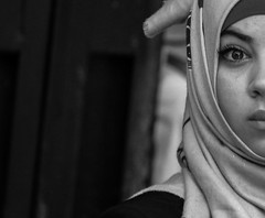 I also feel 'half' and bandaged these days (ybiberman) Tags: portrait bw woman israel candid jerusalem hijab streetphotography ramadan muslimquarter alquds halfface fridayprayer