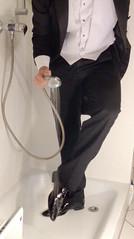 white-tie-shower-1_10300373373_o (shinydressshoes) Tags: tails tailcoat tuxedo suit muddy gunge wet shiny shoes shinyshoes leather patent dressshoes groom wedding whitetie frack formal shower lackschuhe lackschuh