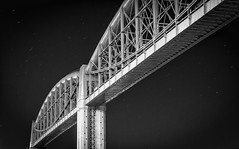 Lattice (Robgreen13) Tags: royalalbertbridge ikbrunel 1859 railway structure bridge rivertamar saltash cornwall night stars mono bw