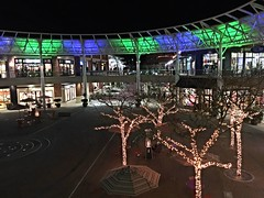 2017 YIP  Day 16: Blue and Green (knoopie) Tags: 2017 january picturemail iphone redmondtowncenter redmond blue green lights 2017yip project365 365project 2017365 yiipday16 day16